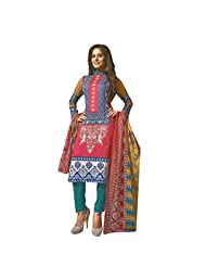 Siddhi Unstitched Cotton Printed Salwar Suit Dupatta Material ( SHOLA-1AA )