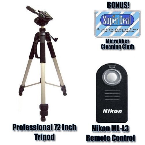 Nikon ML-L3 Remote Control for Nikon D40, D40x, D60, D80 & D90 Digital SLR Cameras + Zeikos 72 Inch Full Size Tripod with Exclusive FREE Complimentary Super Deal Micro Fiber Cleaning Cloth