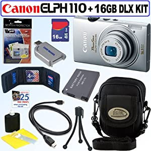 Canon PowerShot ELPH 110 HS 16.1 MP CMOS Digital Camera with 5x Optical Image Stabilized Zoom 24mm Wide-Angle Lens and 1080p Full HD Video Recording (Silver) + NB-11L Battery + 16GB Deluxe Accessory Kit