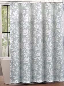 Amazon Com Tahari Dot Floral Fabric Shower Curtain White