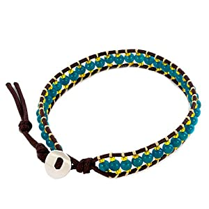 Pugster Aquamarine Blue Stone Yellow Crystal Brown Leather Chan Luu Wrap Bracelet
