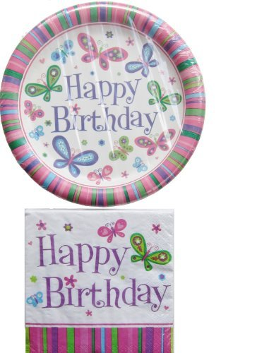 Happy Birthday Party Pack 18 Plates & 20 Napkins (Butterfly) - 1