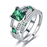 Merthus Womens 925 Sterling Silver Created Emerald Princess Wedding Bridal Ring Sets