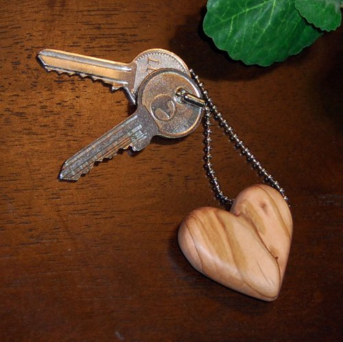 Fair Trade - Hand Carved Olive Wood Heart Keychain