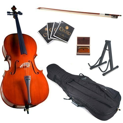 Cecilio CCO-100 Student Cello with Soft Case, Stand, Bow, Rosin, Bridge and Extra Set of Strings, Size 4/4 (Full Size)
