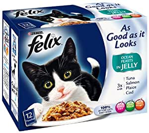 Felix As Good as it Looks Ocean Feasts in Jelly 12 x 100 g (Pack of 4, Total 48 Pouches)