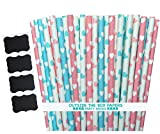 Outside the Box Papers Heart Paper Straws 7.75 Inches 100 Pack Light Blue, Pink, White