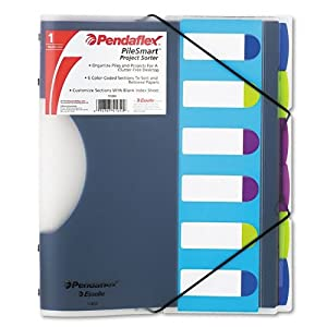 Pendaflex Pilesmart Project File Sorter - Letter Size - Color Coded - 6 Tabs