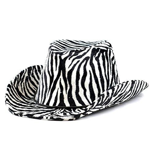 e4e9d230b542d The Hat Depot 200Cowboy Western Style Animal Print Cowboy Hat (Black White)