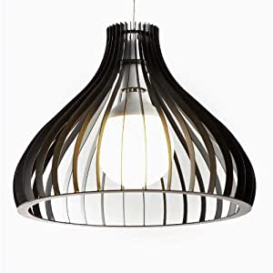 Modern Slatted Black Metal Dome Non Electric Ceiling Light