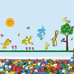 Les animaux de la jungle mini couleur set de stickers muraux po - Appliques pour chambre ...