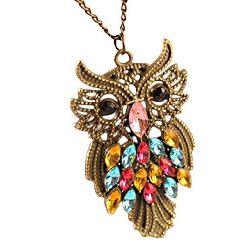 Etiger® Women's Vintage Colorful Rhinestone Owl Pendant Chain Necklace Long Sweater Chain