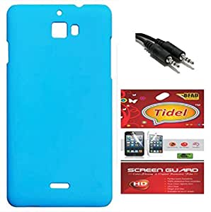 Tidel Stylish Rubberized Plastic Back Cover For CoolPad Dazen1 ( SkyBlue ) With Tidel Screen Guard & Aux Cable