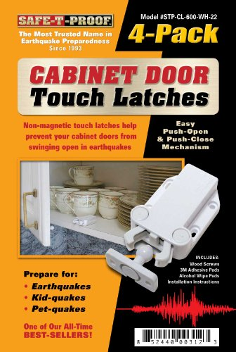 Safe-T-Proof Cabinet Door Touch Latches, White, 4-Pack front-608674