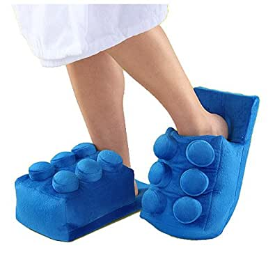 Lego Building Brick Slippers Blue One Size Fits Most Legos