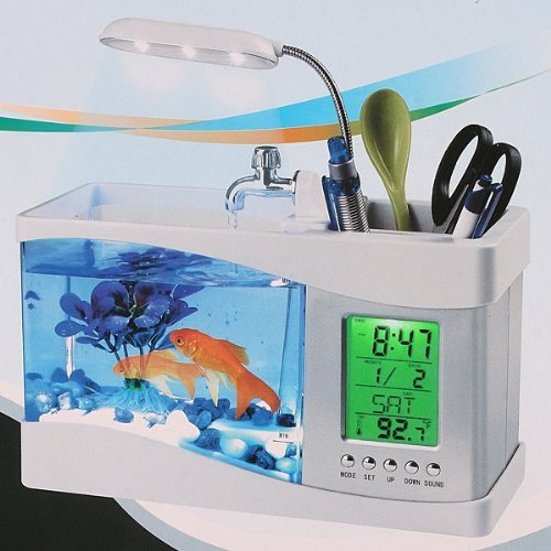 Mini Usb Lcd Desktop Lamp Light Fish Tank Aquarium Led Clock White