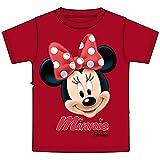 Disney Minnie Mouse Girls Big Face T Shirt - Red Florida Print