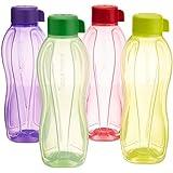Tupperware Aquasafe Water Bottle Set, 1 Litre, Set Of 4, Multicolor