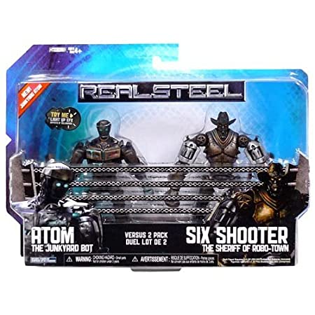 Jakks Pacific - Figurine - Real Steel - Bi-pack Atom vs Six Shooter - Hauteur 13 cm - 0039897361390