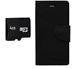 PREGO 4GB SD Micro Memory card Card With Black Mercury Goospery Fancy Diary Wallet Flip Cover For Samsung Galaxy E5