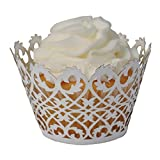 Pack of 24 White Filigree Lace Cupcake Wrappers Wraps Liners Wedding Birthday Party Christening Baby Shower Party Cake Decoartion