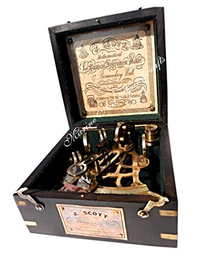 J. Scott London Brass Ship Sextant with Hardwood Box