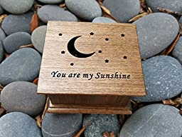 Personalized wooden music box with You are my sunshine engraved on the top along with a moon and stars, great gift for your daughter, handmade by simplycoolgifts