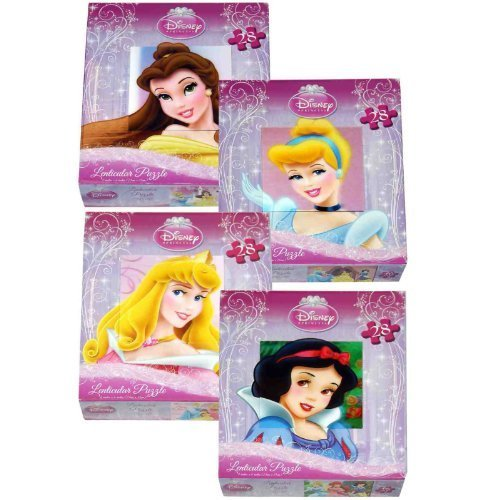 Disney Princess 28 Piece Lenticular Puzzle - Cinderella, Belle and Aurora - 1