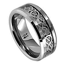 buy 8Mm Dragon Design Tungsten Carbide Wedding Band Ring (Available Sizes 5-14 Including Half Sizes) (10)