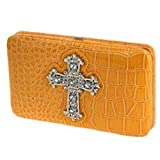 Yellow Croco Faux Leather Rhinestone Cross Thick Flat Clutch Wallet Croc