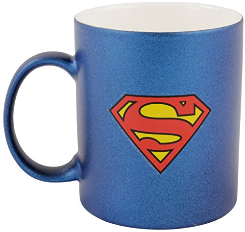 'Superman 0122051 Tazza Da Caffè In Design metallizzato zollsuperman Logo, 300 ml, Porcellana, Blu, 12 x 7,5 x 9,30 cm