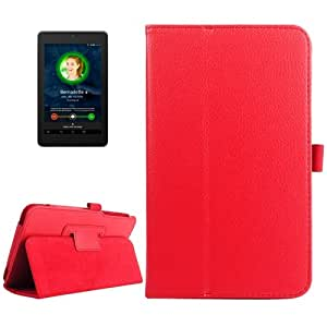 Litchi Texture Leather Case with Holder for ASUS Fonepad 7 / FE170CG (Red)