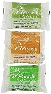 Miracle Noodle Shirataki Pasta, 6 bag Variety Pack, 44 ounces (Includes: 2 Shirataki Angel Hair, 2 Shirataki Rice and 2 Shirataki Fettuccini)