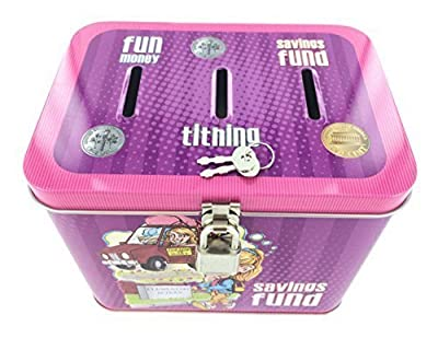 Girl's 3-Slot Tin Bank for Tithing, Savings Fund, and Fun Money - P42009