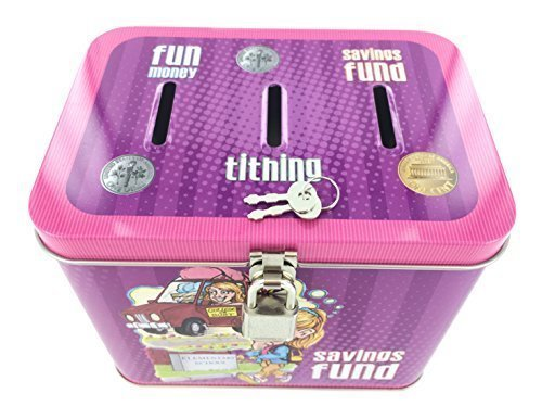Girl's 3-Slot Tin Bank for Tithing, Savings Fund, and Fun Money