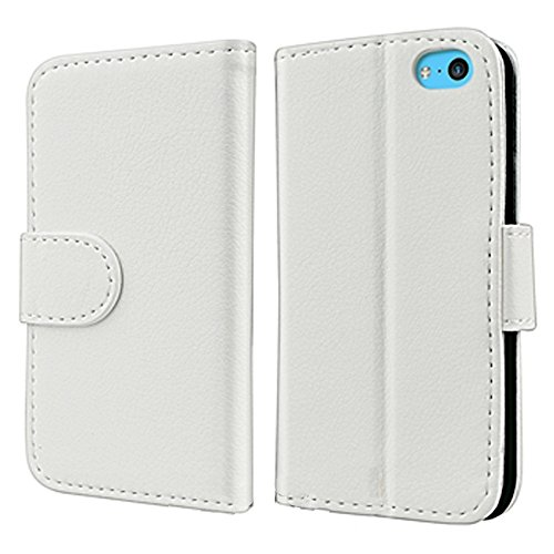 Mylife (Tm) Pure White {Girly Wallet Design} Faux Leather (Card, Cash And Id Holder + Magnetic Closing) Slim Wallet For The Iphone 5C Smartphone By Apple (External Textured Synthetic Leather With Magnetic Clip + Internal Secure Snap In Hard Rubberized Bum