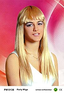 Wigs women children long blonde frayed Middle parting