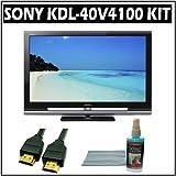 Sony Bravia V-Series KDL-40V4100 40-inch 1080p LCD HDTV + Accessory Bundle w/ 3 Year Warranty