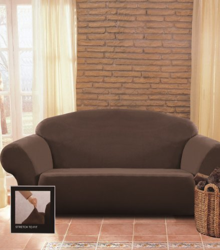 Chezmoi Collection Brooks Chocolate Brown Micro Suede 4-Way Stretch Slipcover Loveseat