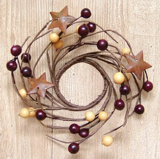 Burgundy & Gold Pip Berry Twig Ring Mini Wreath Rusty Stars Country Primitive Décor