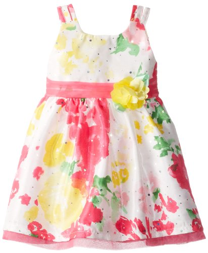 Youngland Little Girls' Printed Dress With Multistraps, Multi, 3T
