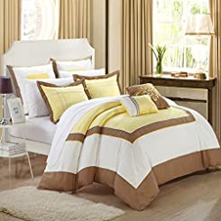 Ballroom Yellow, Brown & White 11 Piece Embroidery Comforter Bed In A Bag Set