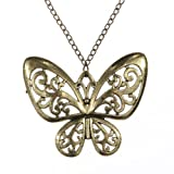 Yazilind Jewelry Bohemian Butterfly Bronze Pendant Long Retro Chain Necklace Clothes for Woemn Gift Idea