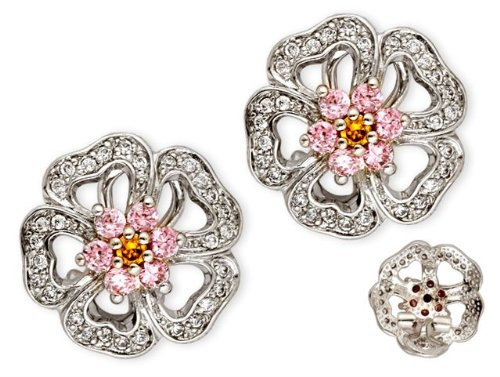 C.Z. Pink Sapphire Diamond Sterling Silver Flower Earrings (Nice Holiday Gift, Special Black Firday Sale)
