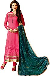 Shenoa Women's Tassar Silk Unstitched Dress Material(1113, Pink)