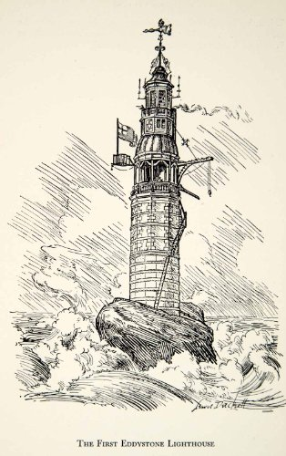 1950 Print Lighthouse Eddystone Rocks Duckett Ocean Cornwall Devon England Art - Relief Line-block Print