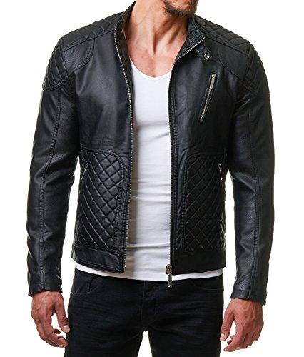 burocs herren kunst lederjacke biker style zipper gesteppt. Black Bedroom Furniture Sets. Home Design Ideas
