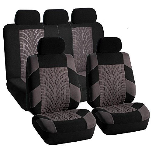 FH GROUP FH-FB071115-SEAT Travel Master Seat Covers Airbag Ready & Rear Split Gray/Black (Split Rear Seat Covers compare prices)
