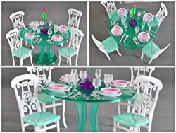 Barbie Size Dollhouse Furniture-green Dining Room