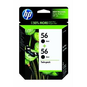 HP 56 Black Ink Cartridge in Retail Packaging, Twin Pack (C9319FN140)